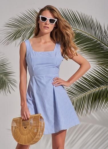 Morhipo Beach Pötikareli Sırtı Çapraz Askılı Elbise Mavi